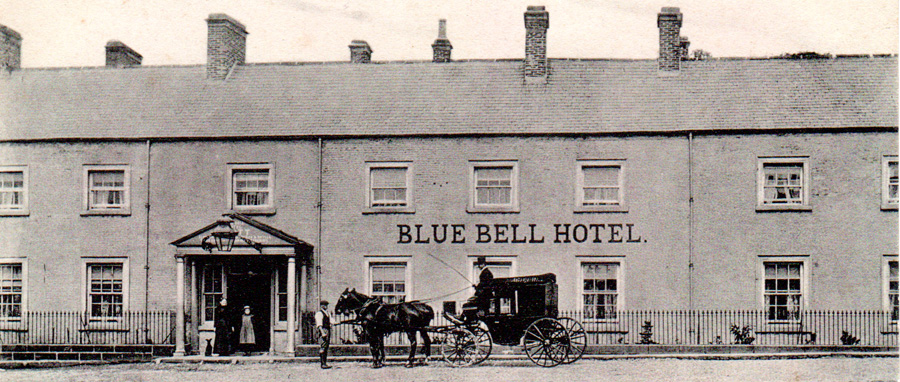 The Blue Bell Hotel showing the carriage which took passengers to and from the railway station