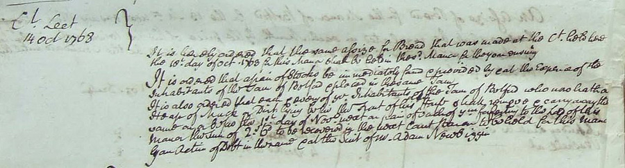 Extract from Belford Court Leet 1768 showing purchase of stocks and punishment for those leaving muck heaps in the street