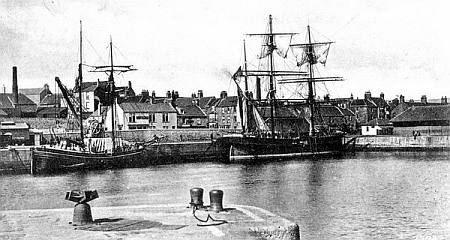 Masted ships in Tweed Dock.