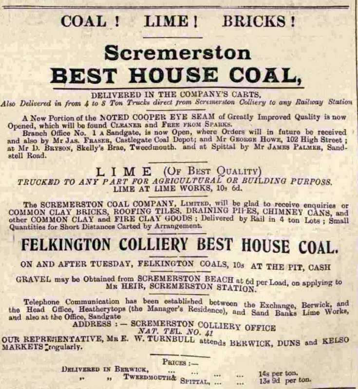 Scremerston Coal advert